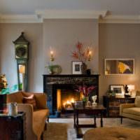 Камин в дизайне гостиной частного дома