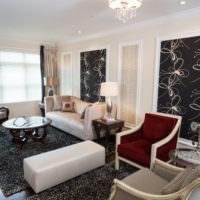 Черно-белый интерьер жилой комнаты частного дома