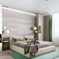 Ламинат в оформлении изголовья кровати в спальне