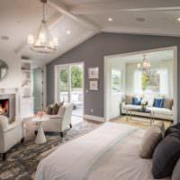 Дизайн интерьера спальни-гостиной частного дома