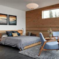 Дерево в дизайне спальни частного дома