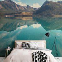 Природный ландшафт в интерьере спальной комнаты