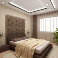 Освещение спальни встроенными потолочными светильниками
