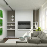 Серые ниши и белые стены в интерьере небольшой гостиной