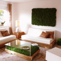 Зеленый мох в оформлении современной гостиной