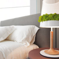 Декор прикроватного светильника с помощью мха