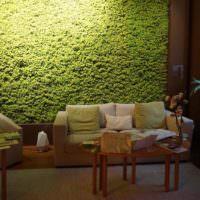 Оформление стены над диваном декоративным мхом