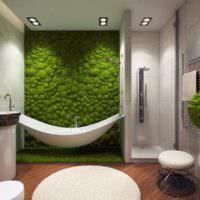 Живой мох в дизайне интерьера ванной комнаты