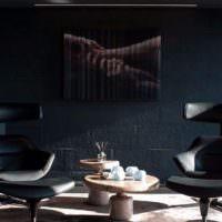Кожаные кресла в мужской гостиной