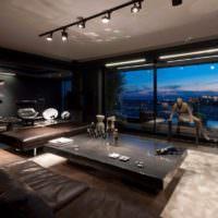 Дизайн мужской квартиры с панорамным окном