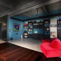Контрастные цвета в дизайне гостиной для холостяка