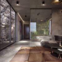 Стекло и камень в интерьере мужского жилища