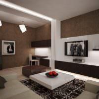 Сочетание коричневого, белого и черного цветов в комнате загородного дома