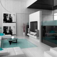 Черно-белый дизайн гостиного помещения дачного дома