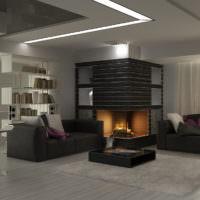 Черный интерьер с камином в гостиной холостяка