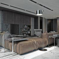 Кожаная мебель в гостиной одинокого мужчины