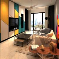 Цветные трапеции на фасадах шкафов в оригинальной гостиной