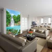 Водопад на фотообоях в гостиной
