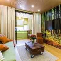 Объемные фотообои в интерьере жилой комнаты