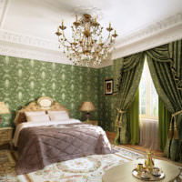 Оливковый цвет в оформлении спальни классического стиля