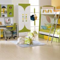 Оливковый цвет в детской комнате