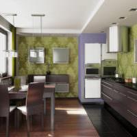 Обои с оливковыми тонами на стене кухни