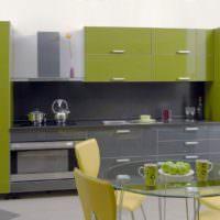 Кухонная мебель с фасадами оливкового цвета