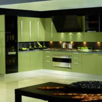 Акриловые фасады кухонного гарнитура оливкового цвета