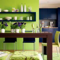 Сочетание оливкового и синего цветов в интерьере кухни
