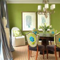Белый потолок и оливковые стены в дизайне жилого помещения