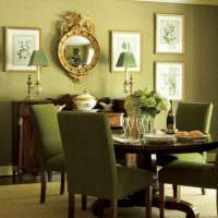 Обилие оливковых оттенков в интерьере помещения
