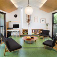 Оливковый пол в дизайне гостиной загородного дома