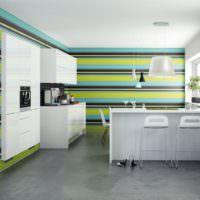 Обои с цветными полосами в интерьере современной кухни