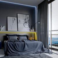 Панорамное окно в спальне с темным интерьером