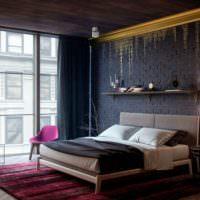 Темная спальня в стиле лофт