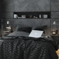 Темно-серые оттенки в интерьере спального помещения