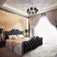 Яркий свет из окна в спальне с темным интерьером