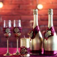 Оформление бутылок шампанского для серебряной свадьбы