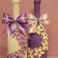 Объемное декорирование бутылок для свадьбы