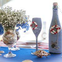 Морская тема в декоре свадебных бутылок
