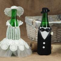 Оформление своими руками бутылок для жениха и невесты