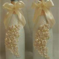 Объемная лепнина на свадебных бутылках