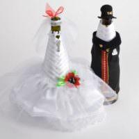 Пример оформления свадебных бутылок своими руками