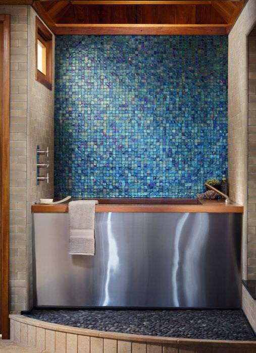 Оформление мозаикой стен и пола в ванной комнате