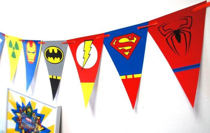 Бумажная гирлянда для оформления дня рождения ребенка в тематике супергероев