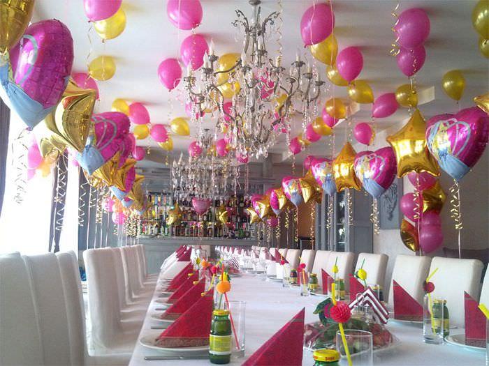 Оформление воздушными шарами помещения для проведения детского дня рождения