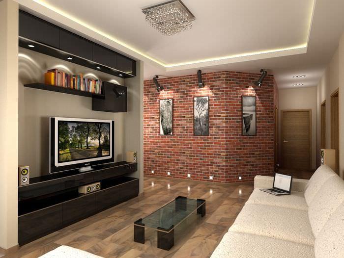 Дизайн гостиной комнаты в стиле лофт