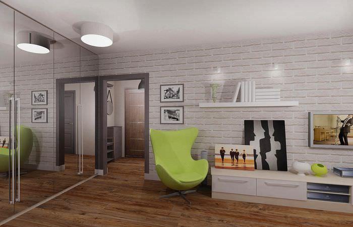 Интерьер современной комнаты в однушке панельного дома серии п44т