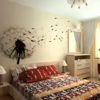 Нарисованный одуванчик над изголовьем кровати