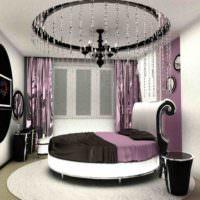 Круглая кровать в дизайне спальни